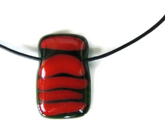fused glass necklace,red glass pendant necklace,rectangle fused glass necklace,green red fused necklace,transparent green red fused necklace