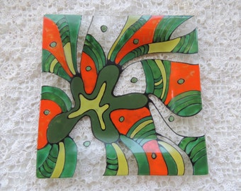 fused glass plate, square fused plate,square handmade plate,painted  plate,hand painted glass plate,green painted fused plate,colorful plate