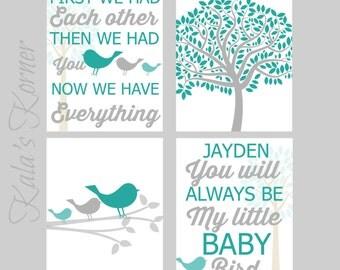 Bird Nursery Art, Teal Gray Nursery, Playroom Art, Children Wall Art, Bird Nursery Decor, Custom Baby Name, Girls Nursery Art Print