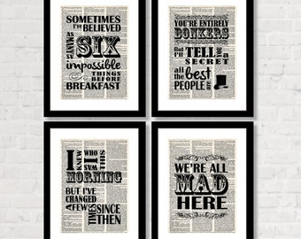Alice In Wonderland Quote - We're All Mad Here - You're Entirely Bonkers - I Knew Who I was This Morning - Sometimes I've Believed - VALUE