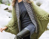 Poncho with sleeves for women, cape, wool, alpaca cable, handmade knitting