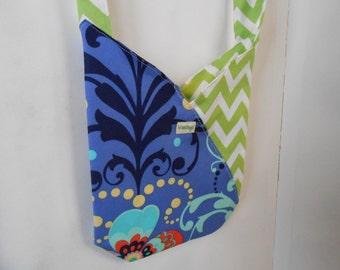 SALE! Messenger bag Chevron shoulder bag lime green and purple Purse