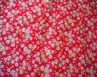 Vintage Floral fabric, cotton, 3 yards, Soviet Union, USSR, 1980s