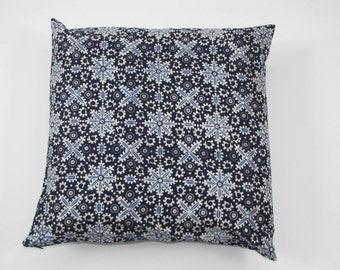 Blue snowflake cotton batik pillow cover