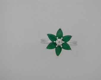 Genuine Emerald Diamond Ring 14kt White Gold