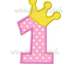 Princess birthday number 1 applique machine embroidery design