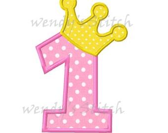 Princess birthday number 1 applique machine embroidery design