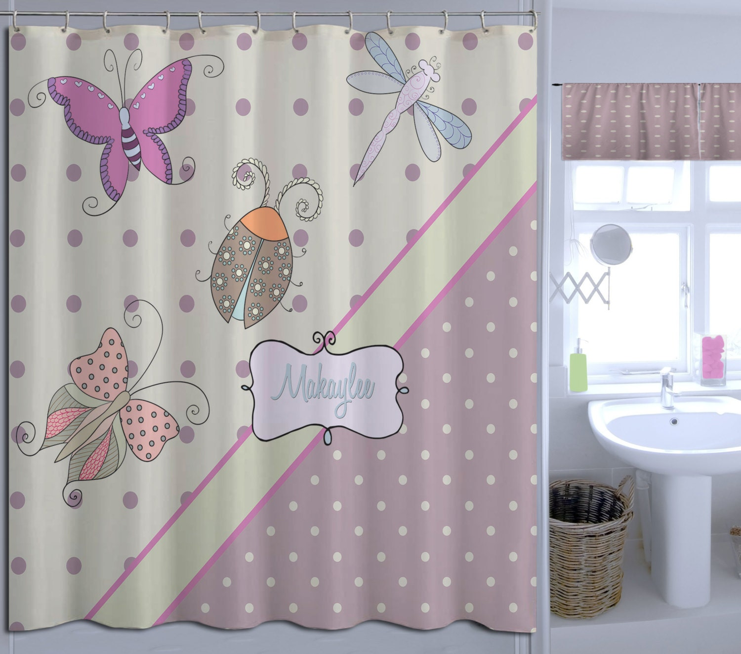girls butterfly shower curtain fabric shower curtain purple
