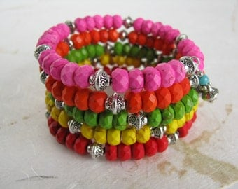 Bright and Colorful Memory Wire Bracelet (#330)