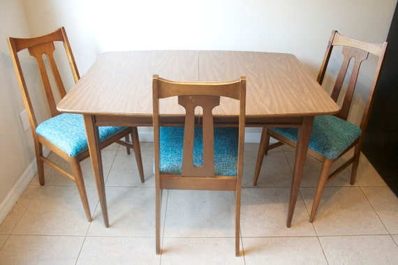 Mid Century Modern Walnut Dining Table 4 Chairs Retro