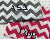 Sorority Personalized Greek Letter Chevron Infinity Scarf - Hot Pink, Black, Red, Navy, Mint, Teal Chevron Infinity Scarves - Chi Omega