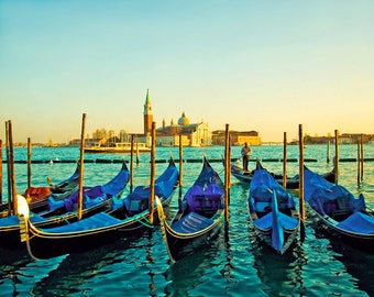 Sunset Italy Photography - Travel, Venice, Gondolas, Romantic Wall Art - Sunset over Venice Gondolas - Landscape