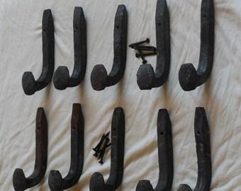 Free Shipping 10 USA Old Railroad Spike Hooks Hangers Steel Hardware Vintage Industrial Retro Hammered Blacksmith- Make Vintage Coat Racks
