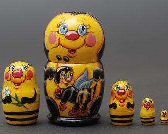 Bee Nesting dolls matryoshka set  of  5 pc Free Shipping plus free gift!