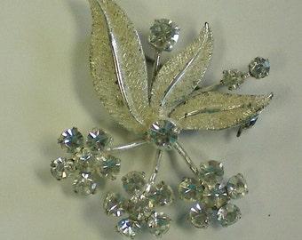 Silver Austrian Crystal Bouquet Brooch - 3238
