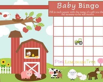 Farm Baby BINGO, Farm Baby Shower Game, INSTANT DOWNLOAD
