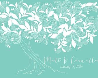 Country Autumn Wedding Guestbook  tree print on canvas 150 colour tiffany. Choose your color.