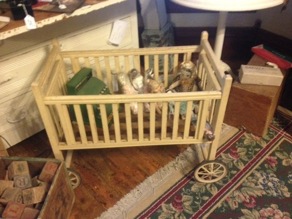 Vintage 20s 30s Baby Doll Crib Wooden By Paintedladyantiques