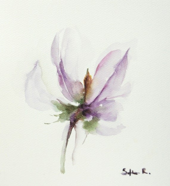 Original watercolor painting of purple lavender flower for How to paint abstract with watercolors