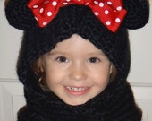 Soft Minnie Mouse Hooded Cowl, Black,Red Polka Dot Bow,Mouse Scarf,Girl Cowl,Toddler Scarf,Mouse Ear Hood,Knit Cowl,Hooded Cowl,Hooded Scarf