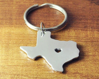 I heart Texas key chain, Personalized State map key chain, State Charm, Custom map keyring, Hand made map jewelry, State Map heart cut out