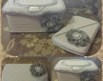 Gray and cream wipe case