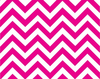 Magenta chevron craft  vinyl sheet - HTV or Adhesive Vinyl -  hot dark pink and white large zig zag pattern   HTV101