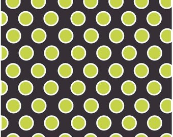 Black with lime and white dots craft  vinyl sheet - HTV or Adhesive Vinyl -  large polka dot pattern HTV725