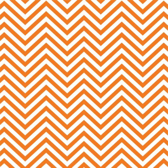 Orange And White Chevron Zig Zag Pattern By Breezeprintcompany
