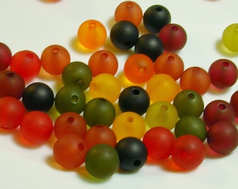 Resin 10mm Round Beads, Autumn Mix, 25 g bag