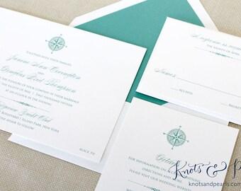 Compass Rose Wedding Invitations, Nautical Compass Wedding Invitation, Compass Invitations, Nautical Wedding Invitations, Preppy Invitations