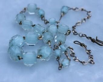 Pale Aqua Vintage Cane Glass Necklace