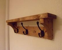 Wooden Coat Hook Rack and Wall Shelf