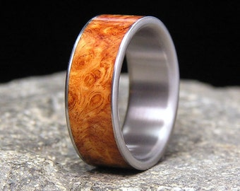 Golden Brown Amboyna Burl Wood Inlay Titanium Wedding Band or Ring