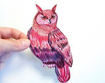 Harvest Owl bird sticker, // SALE 3 for 2 // 100% waterproof vinyl label.