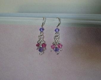 Dangle Earrings in Sterling Silver with Tanzanite & Fushia Swarovski Crystals