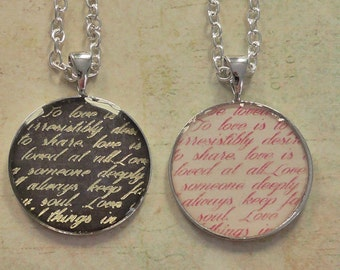 Words of Love resin necklace