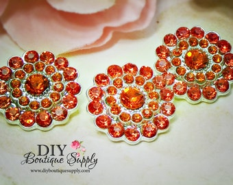 Halloween ORANGE Rhinestone Buttons - FLatback Metal Embellishment - Orange Crystal Buttons Headband Supplies flower centers - 22mm 769044
