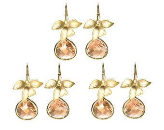 Orchid Earrings with Peach Crystal, Champagne Drop Earrings, Dangle Earrings, Wedding Jewelry, Bridesmaid Jewelry