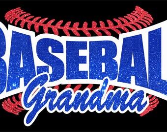 Baseball Grandma tee in Glitter