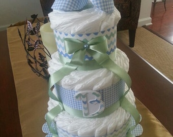 Blue And Green Diaper Cake For Baby Boy