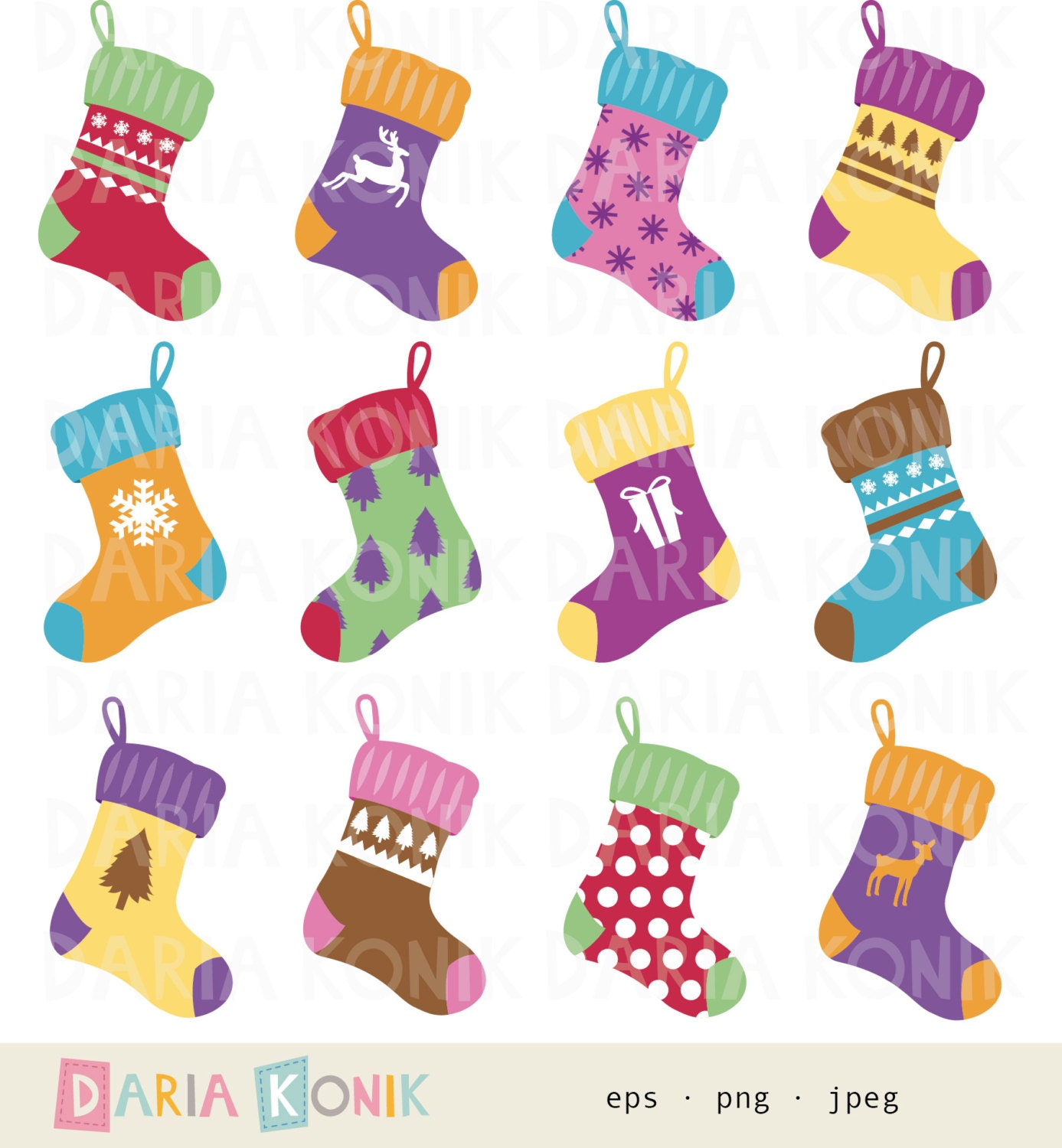 Christmas Stockings Clipart Free Il Fullxfull Lnx
