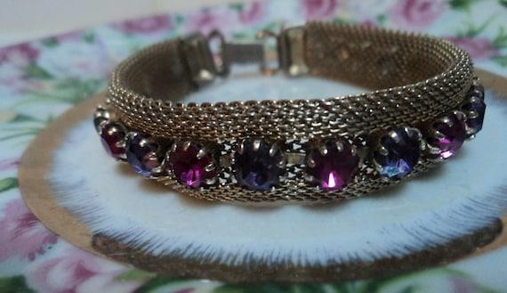 Weiss Signed Mesh And Rhinestone Vintage Bracelet Treasury Item
