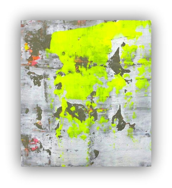 Abstract painting canvas large painting neon by for Neon yellow wall paint