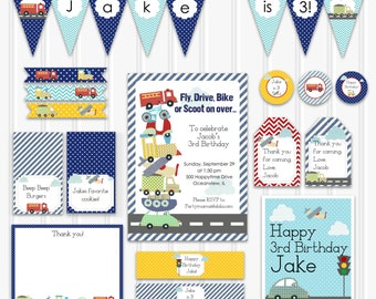 Custom Transportation Birthday Set, Vehicle Birthday Decoration Kit, INSTANT DOWNLOAD, Personalized Transportation Invitation, Boy Party