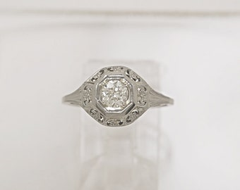 0.38ct. Diamond & 18K White Gold Art Deco Engagement Ring- J34269