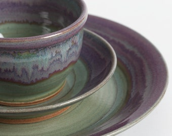 Stoneware dishes, Set of three pieces, ceramic dishes, pottery dishes, dinnerware, ceramics and pottery, dinnerware, wedding gift, place set