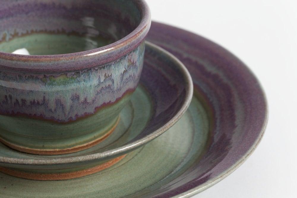 Set Of Three Pieces Stoneware Dishes By Livingearthceramics