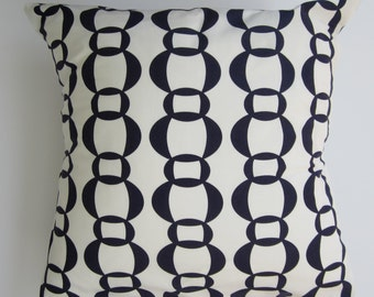 "Pillow cover - Navy & white ""link"" print, fits a 20x20 -100% Cotton"
