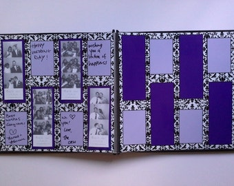 Damask and Purple Photo Booth Guest Book